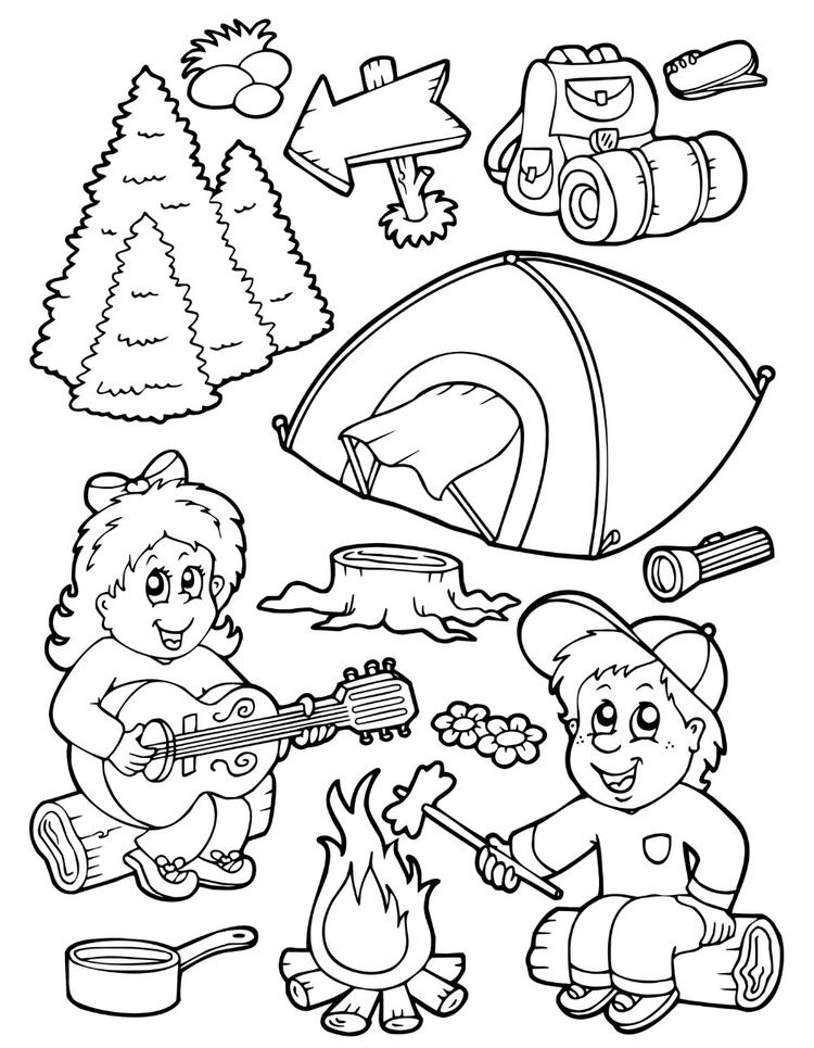 Camping Coloring Pages Equipments