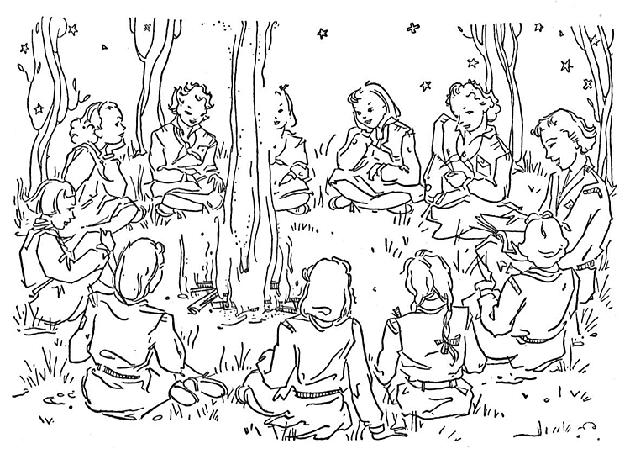 Camping Coloring Pages Girls Scout
