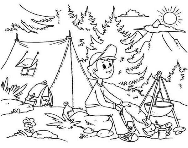 Camping Coloring Pages In Mountain