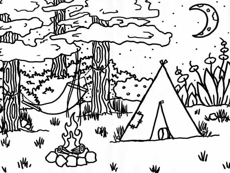 Camping Coloring Pages In The Woods At Night