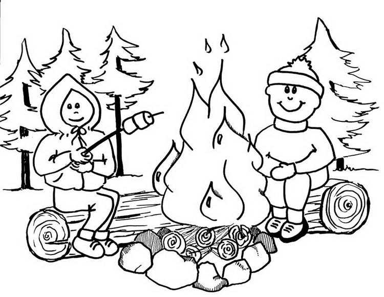 Camping Coloring Pages Roasting Marshmallows In Campfire