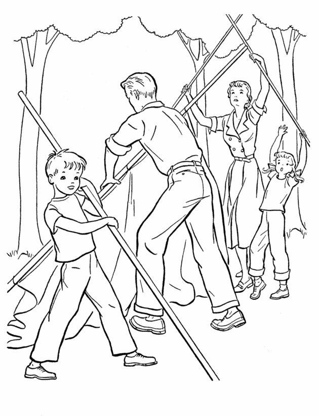 Camping Coloring Pages Setting Up The Tent