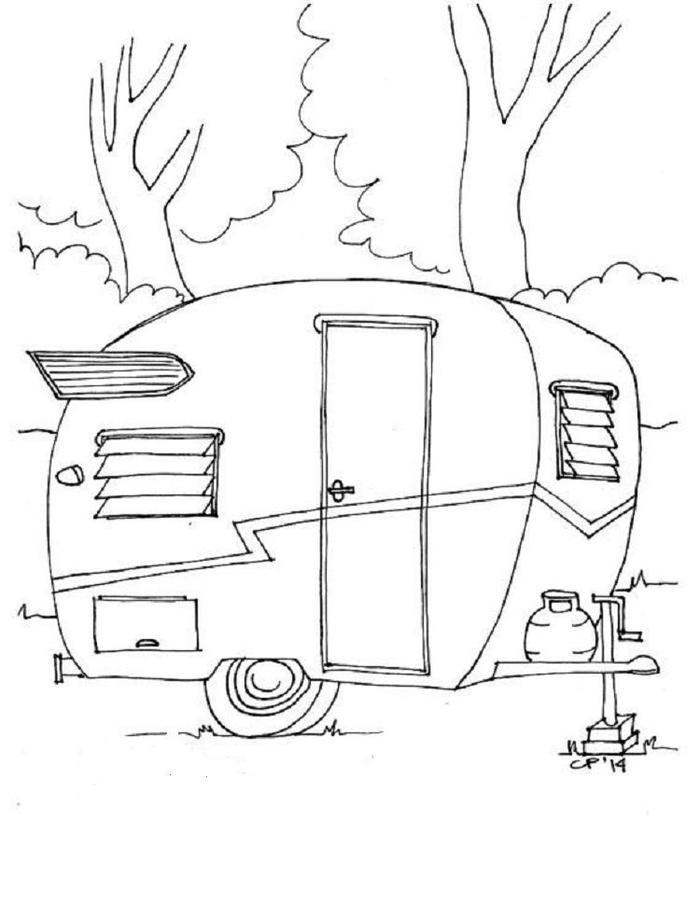 Camping With Vintage Caravan Coloring Pages