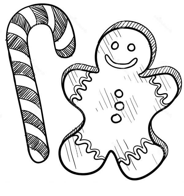 Candy Cane Coloring Pages And Gingerbread Man