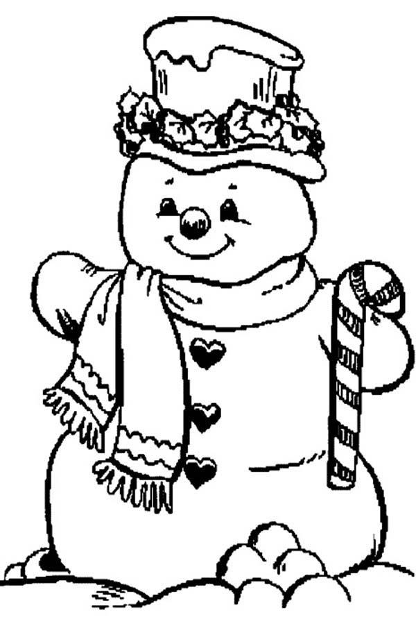 Candy Cane Coloring Pages And Snowman