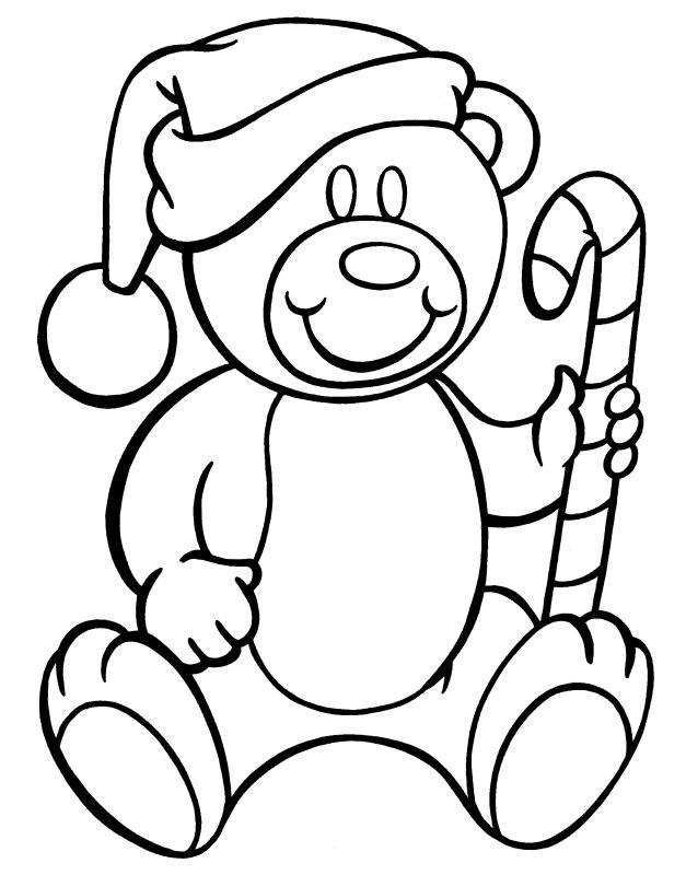 Candy Cane Coloring Pages With Teddy Bear Christmas
