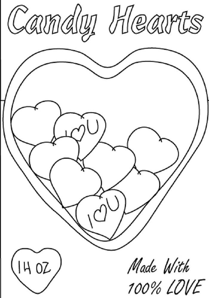 Candy Heart Coloring Pages