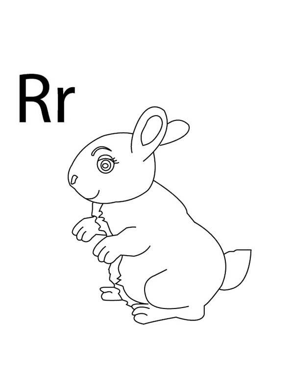 Capital And Small Letter R For Rabbit Coloring Page