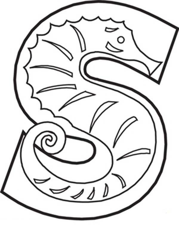 Capital Letter S Coloring Page For Preschool Kids