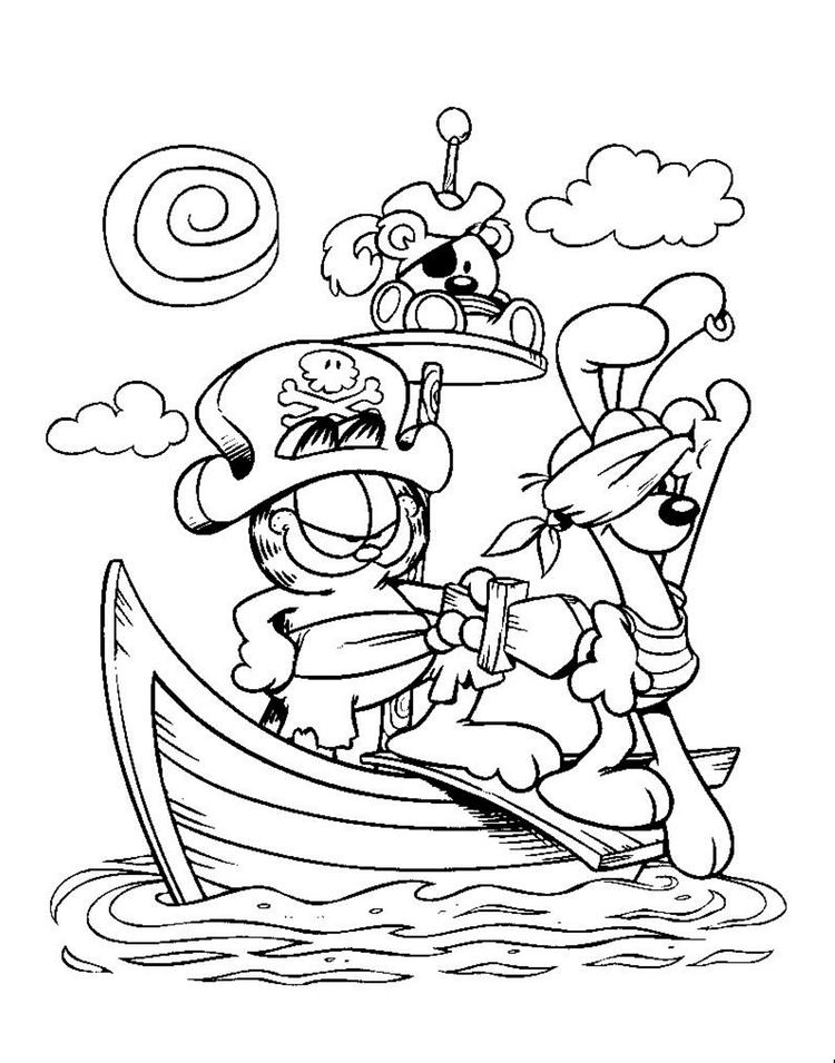Captain Garfield Coloring Pages