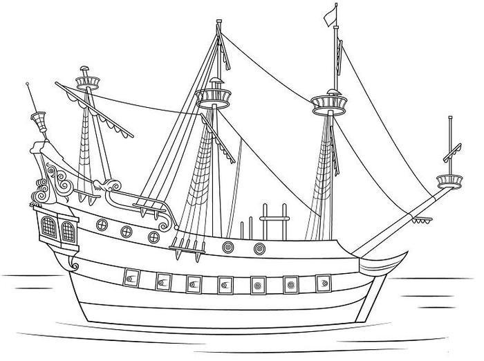 Captain Hook Pirate Ship Coloring Pages