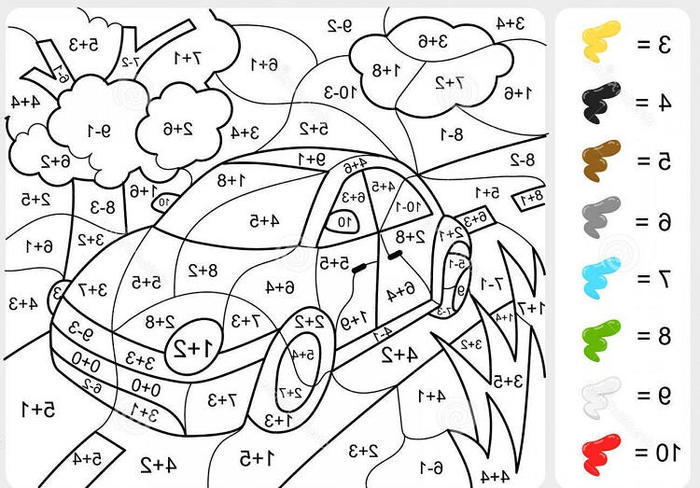 Car Color By Numbers Coloring Pages