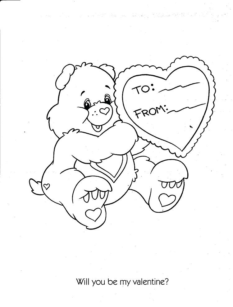 Care Bear Valentine Coloring Pages