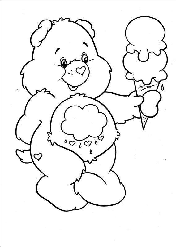 Care Bears Coloring Pages Holding Ice Cream