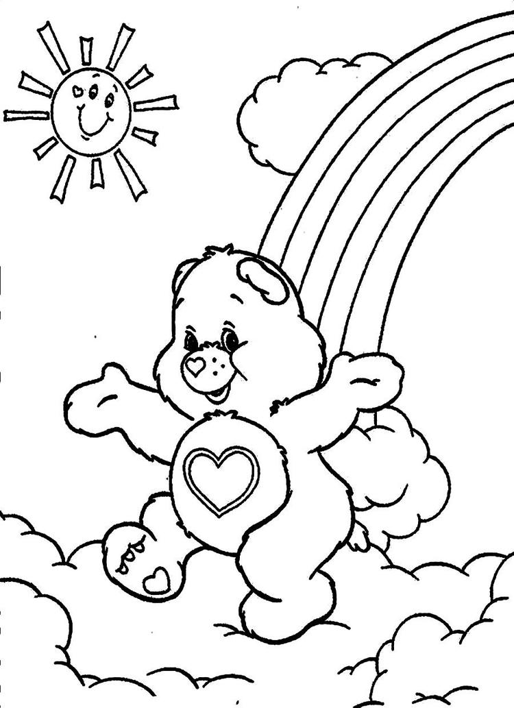 Care Bears Coloring Pages Rainbow And Sun