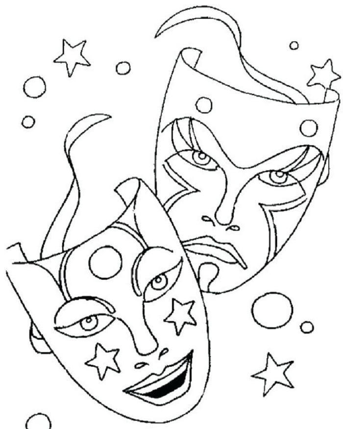 Carnival Mask Coloring Pages
