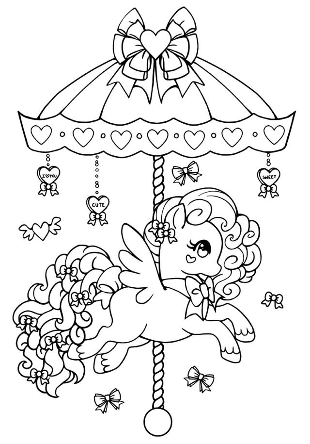 Carousel My Little Pony Coloring Sheet For Children