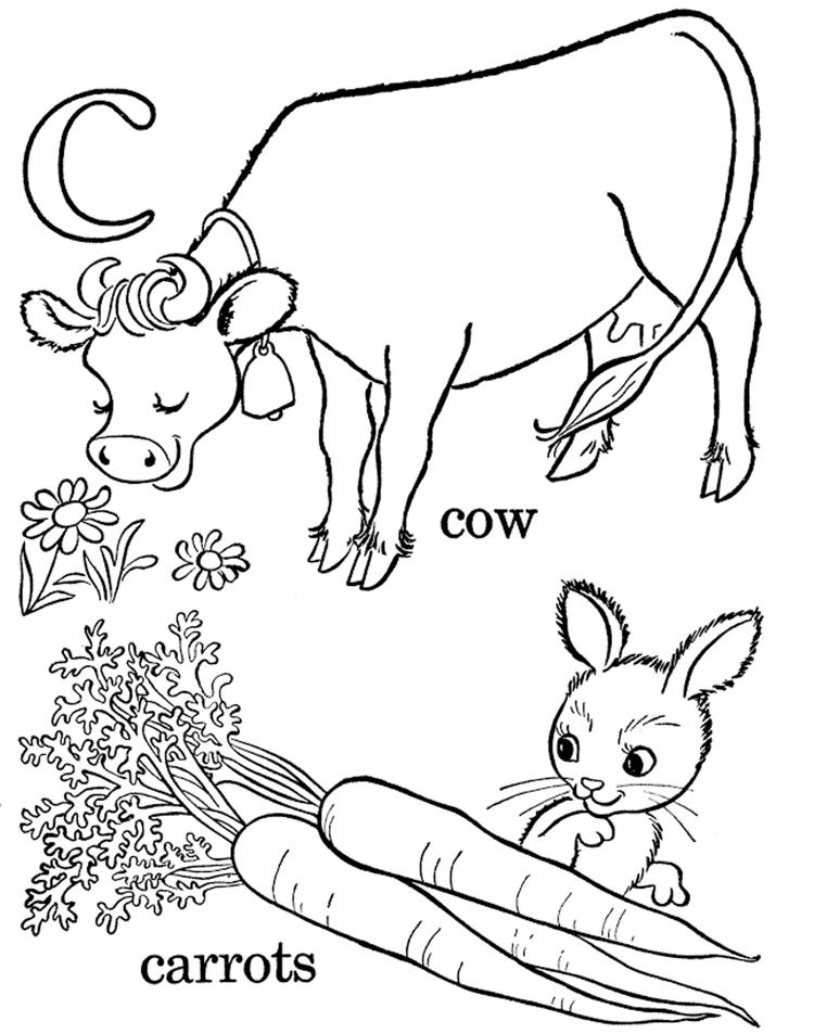 Carrot And Cow Coloring Pages Alphabet C
