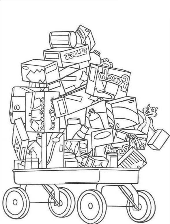 Cart Full Of Toys In Over The Hedge Coloring Pages