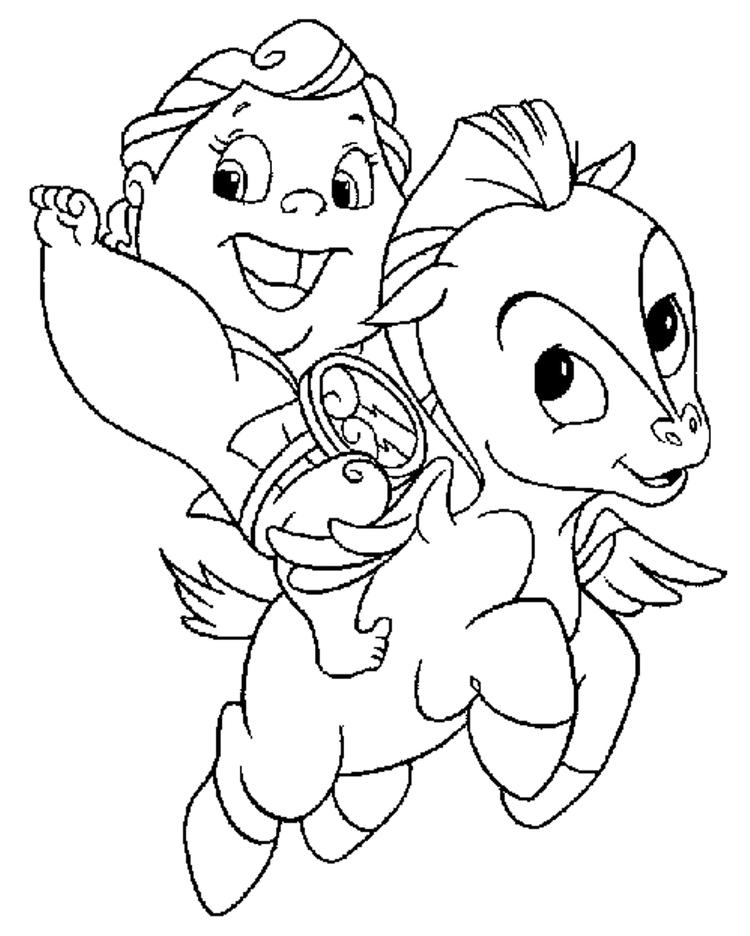 Cartoon Coloring Pages Baby Pegasus And Hercules