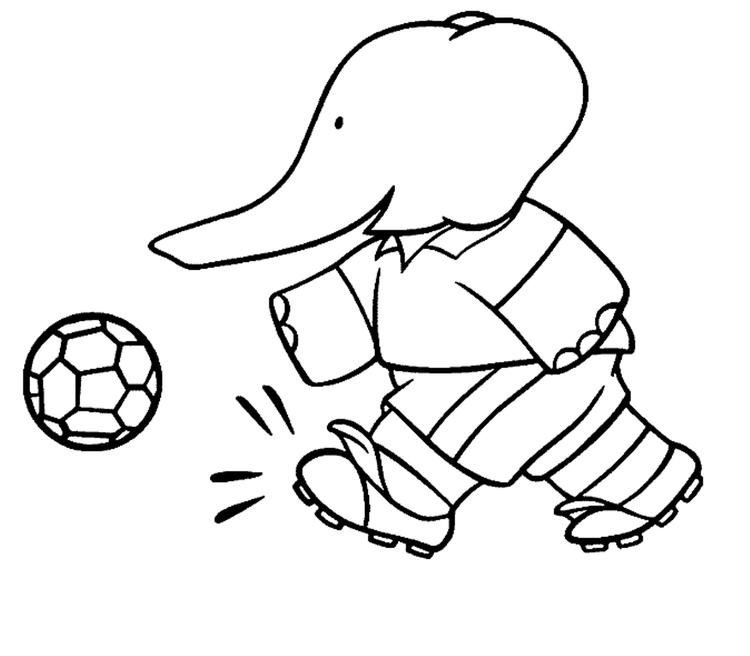 Cartoon Coloring Pages Elephant Playing Soccer