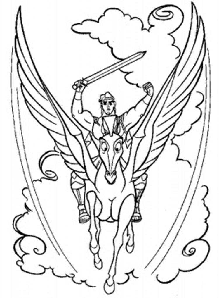 Cartoon Coloring Pages Pegasus And Hercules