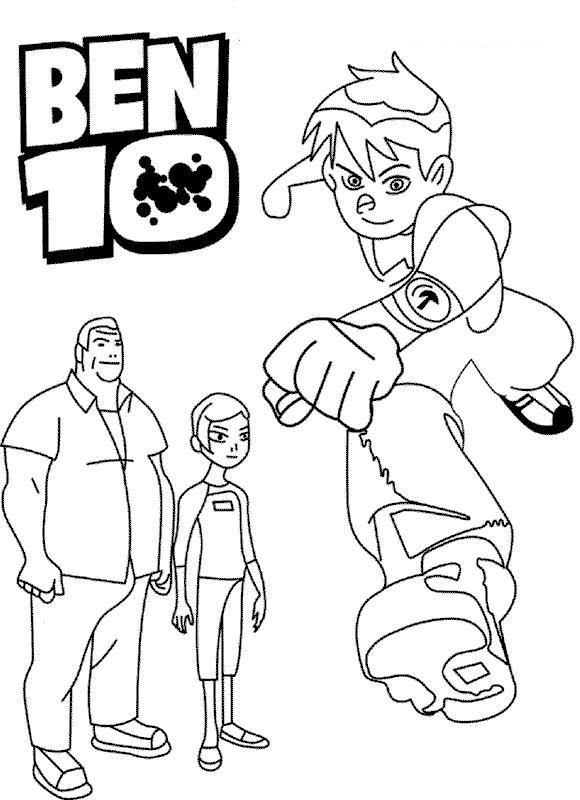 Cartoon Coloring Pages Printable Ben 10