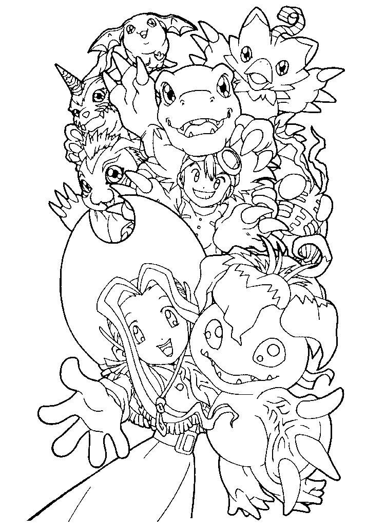 Cartoon Digimon Coloring Pages
