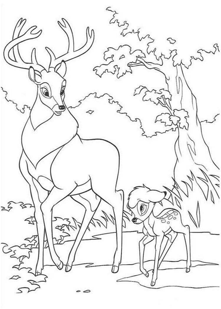 Cartoon Printable Bambi Coloring Pages