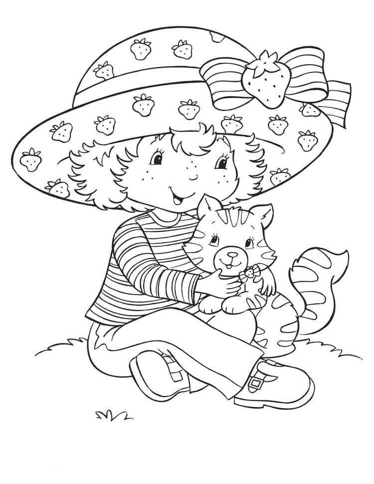 Cartoon Strawberry Shortcake Coloring Page