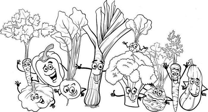 Cartoon Vegetables Coloring Pages