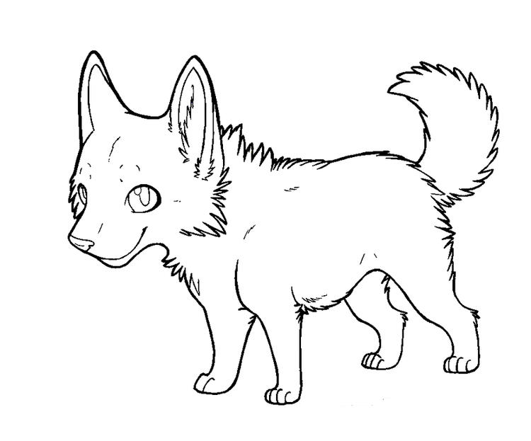 Cartoon Wolf Puppy Coloring Pages