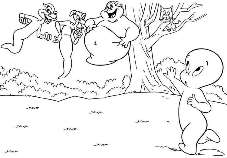 Casper And Ghostly Trio Coloring Page