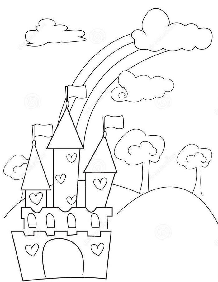 Castle And Rainbow Coloring Pages