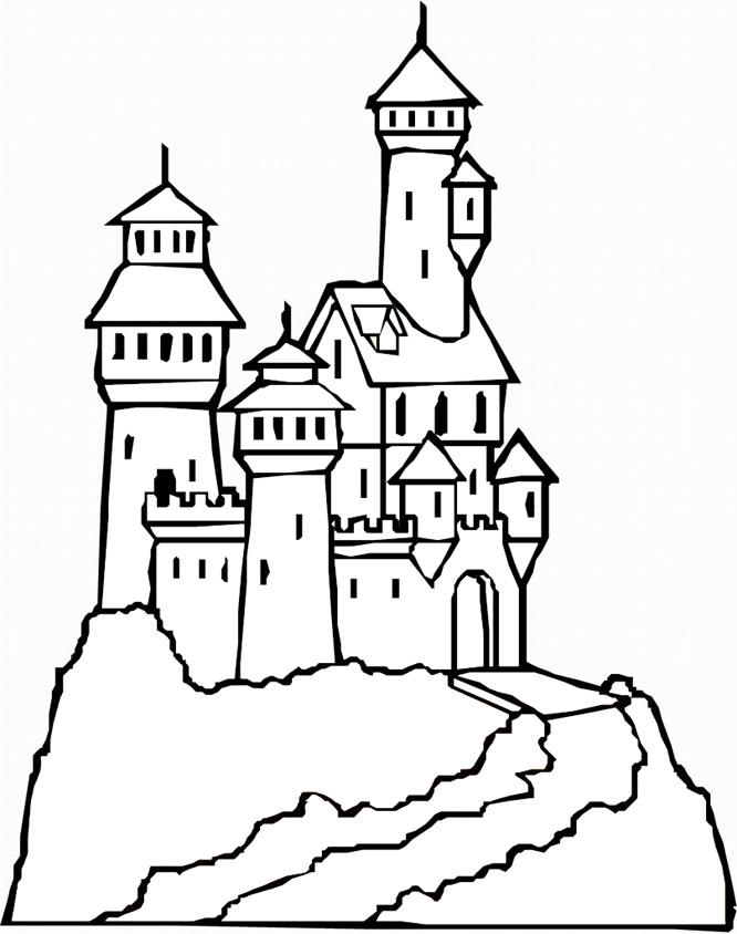 Castle Coloring Pages At The Top Of Mountain