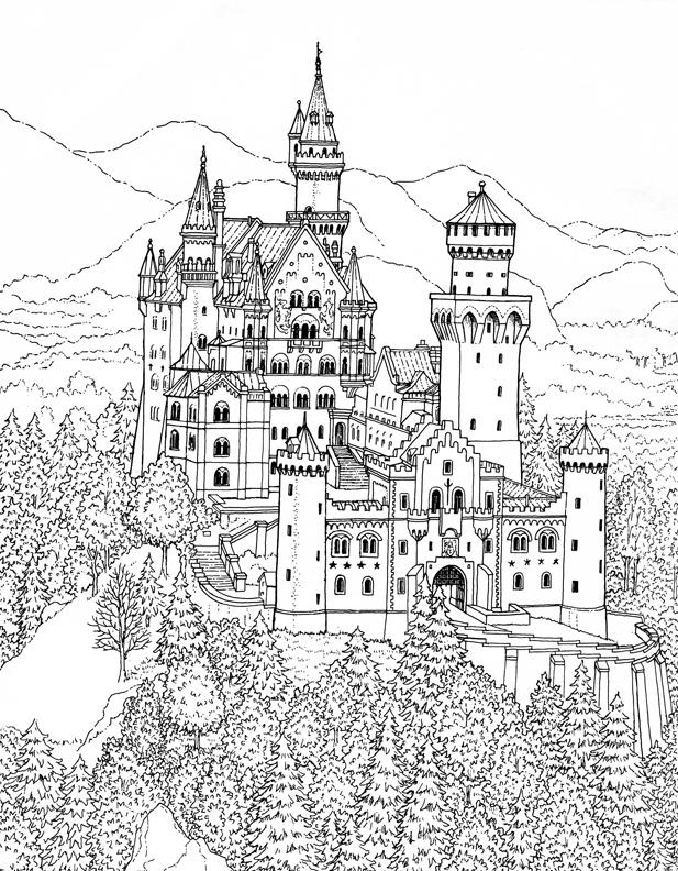 Castle Coloring Pages In The Forest For Adults