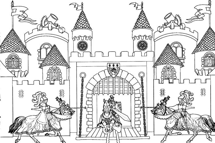 Castle Coloring Pages With Knights For Adults