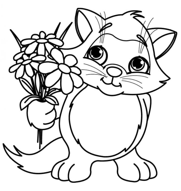 Cat Brought Flower Coloring Pages