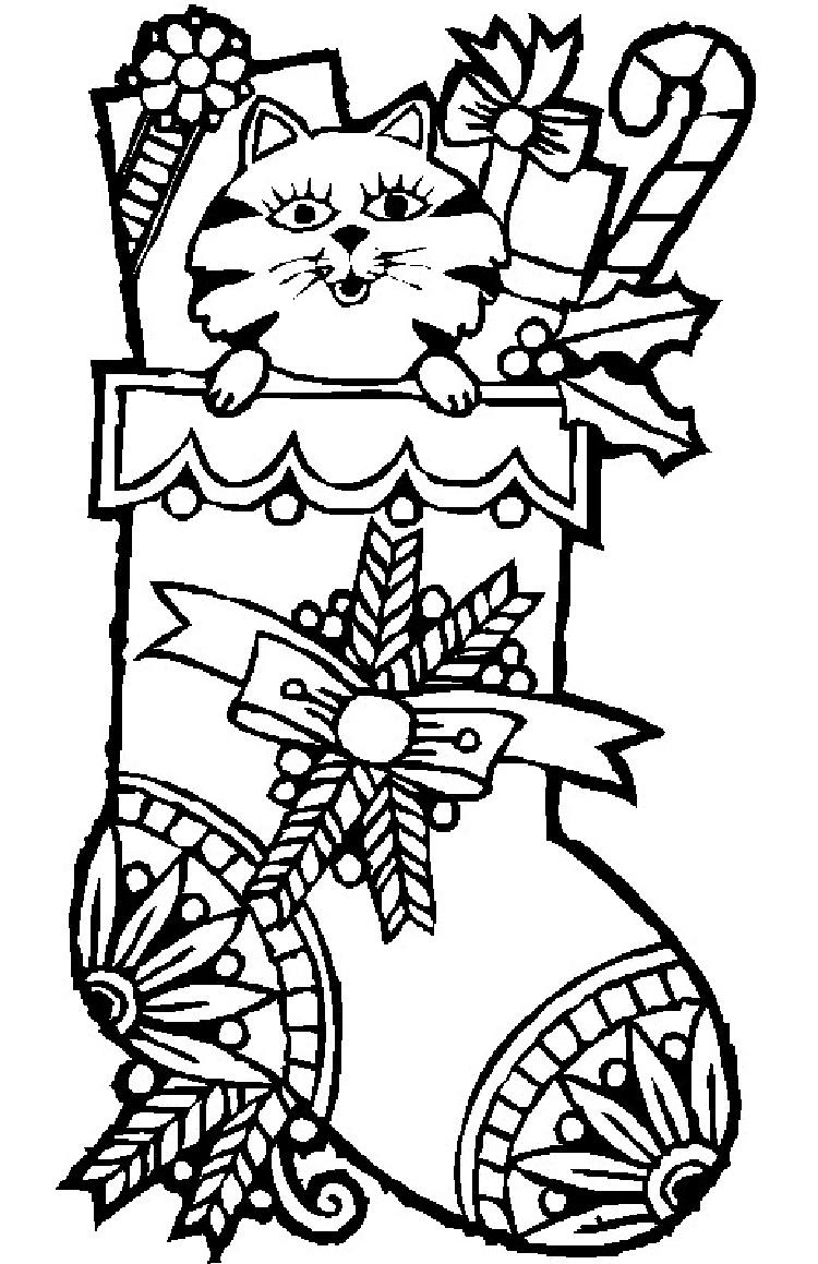Cat Coloring Pages Christmas