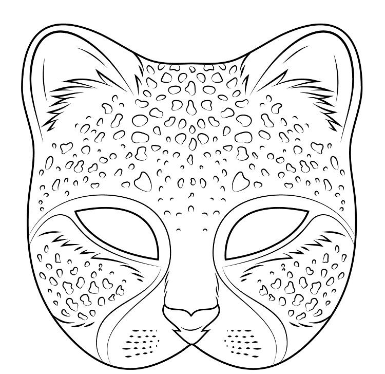 Cat Mask Coloring Pages