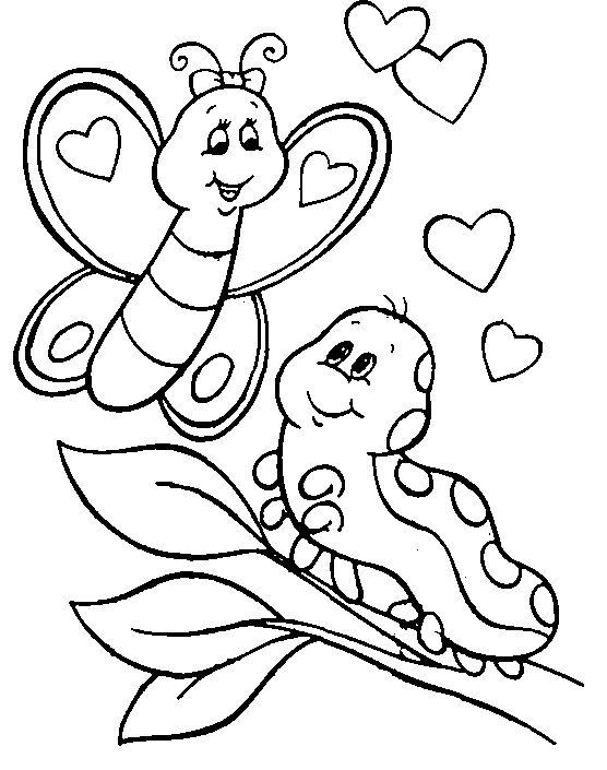Caterpillar Coloring Pages With Butterfly