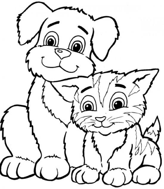Cats And Dogs Coloring Pages For Kids Free