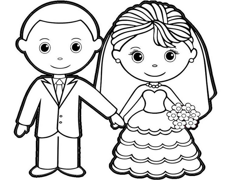 Charming Bride And Groom Coloring Sheet For Children