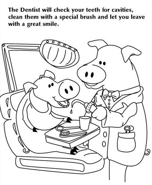 Check Your Teeth At Dentist Coloring Pages