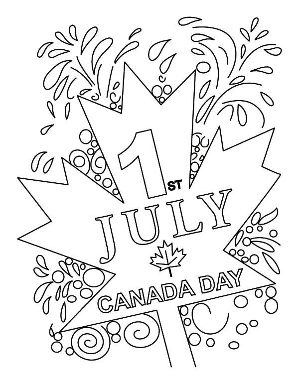 Cheerful Canada Day On July 1st Coloring Pages