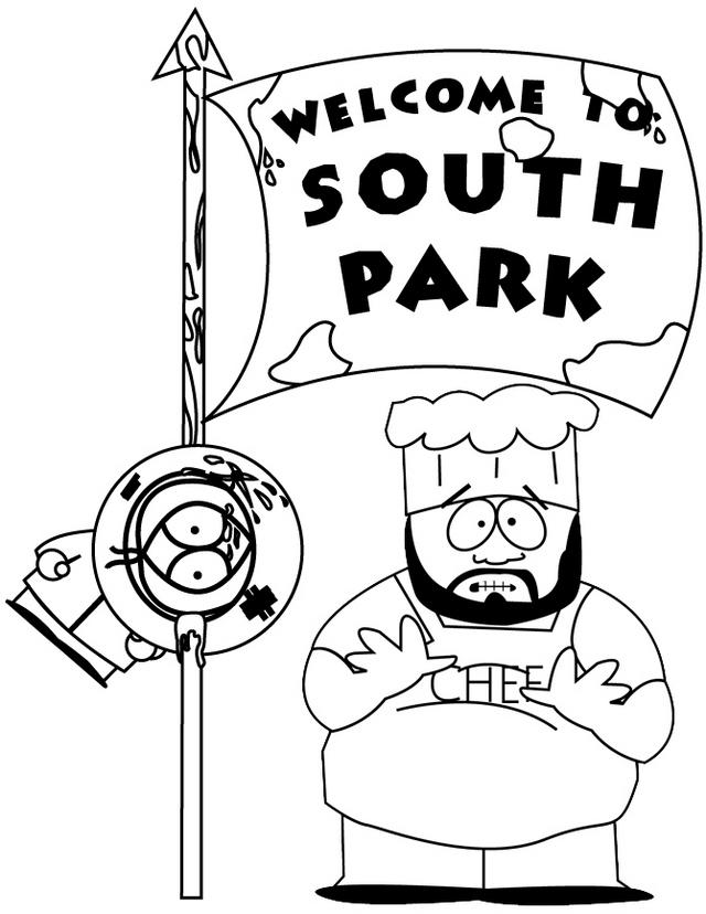 Chef And Kenny With South Park Flag Coloring Page