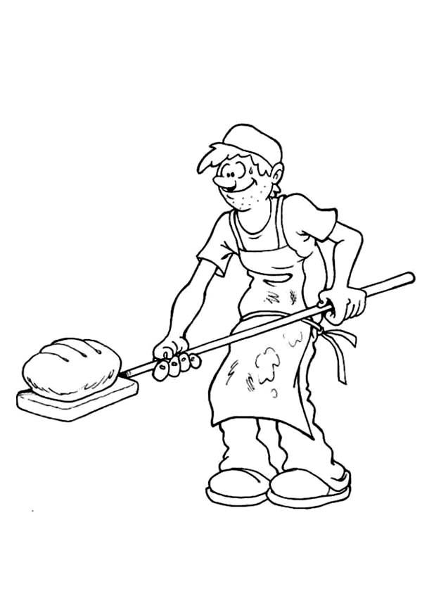 Chef Bakery Roasting Bread Coloring Pages