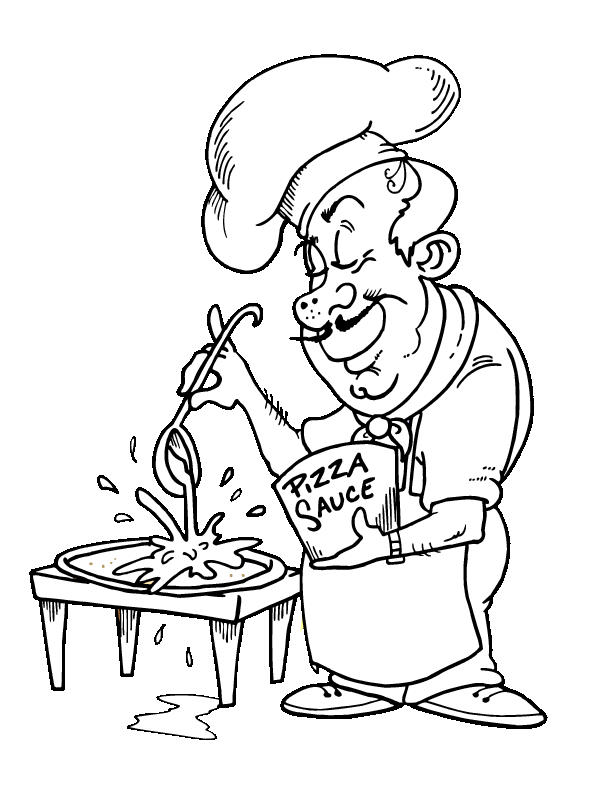 Chef Making Pizza Coloring Pages