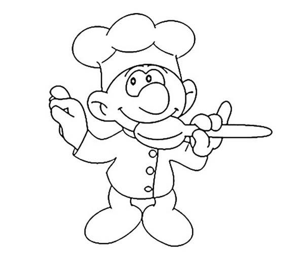 Chef Tasting Cake Formula In Bakery Coloring Pages