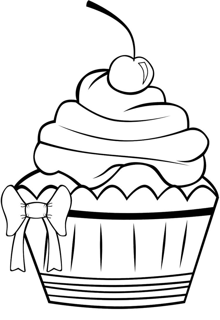 Cherry Cupcake Coloring Pages